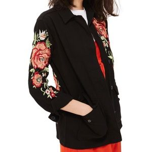 Topshop Black Rose Embroidered Jacket